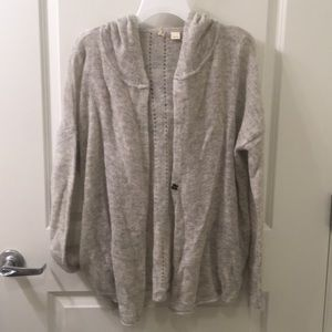 Moth | Linen and Wool Blend Hoodie Cardigan L